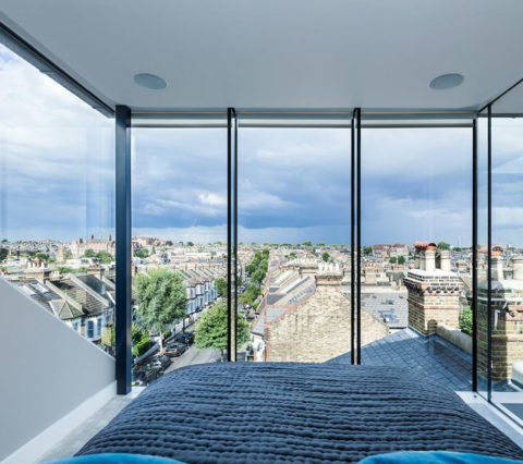 interior home blue window tinting